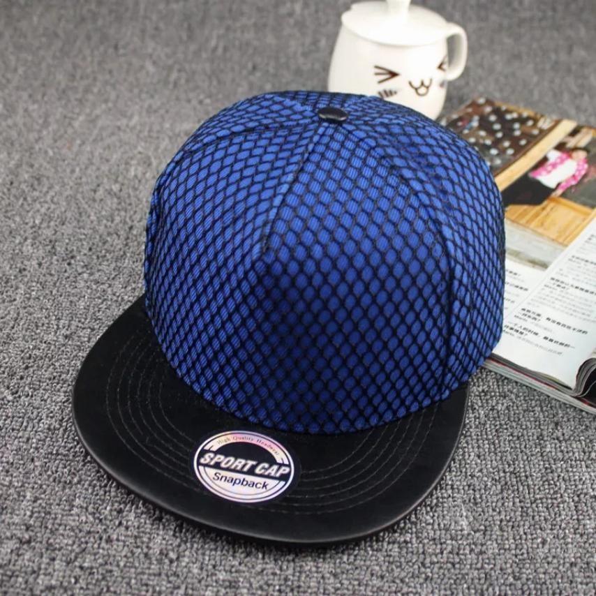 Кепка снепбек Сетка с прямым козырьком Синяя, Унисекс