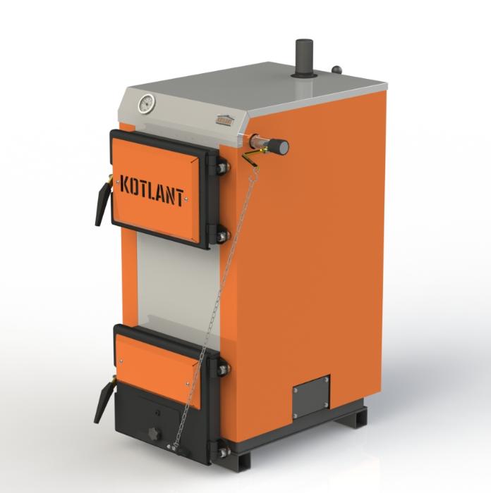 Твердопаливний котел тривалого горіння Kotlant КГ 15 кВт з механічним регулятором тяги