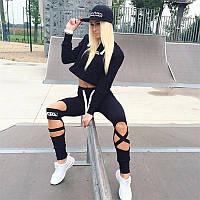 Спортивный костюм для фитнеса MARSKA (леггинсы + топ), черный