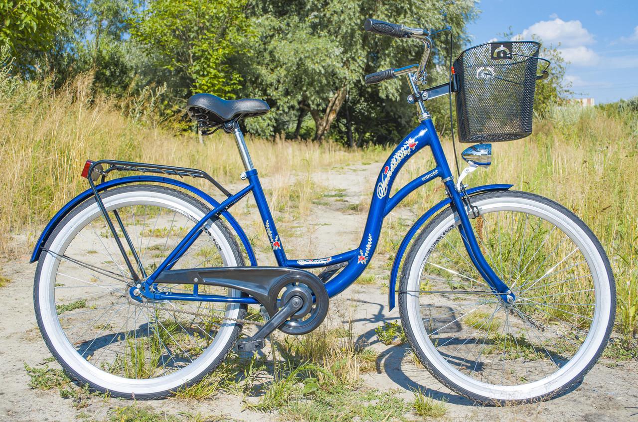 Велосипед жіночий міський VANESSA 26 Blue з кошиком Польща