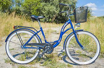 Велосипед женский городской VANESSA 26 Blue с корзиной Польша