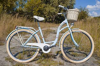 Велосипед женский городской VANESSA Vintage 28 Sky Blue с корзиной Польша