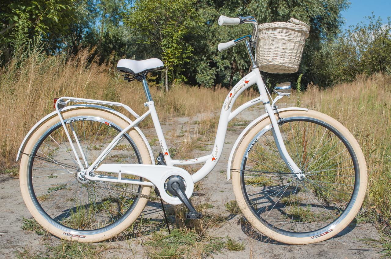 Велосипед жіночий міський VANESSA Vintage 28 White  з кошиком Польща