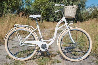 Велосипед женский городской VANESSA Vintage 28 White с корзиной Польша