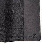 Кожаная обложка на паспорт с ромбами SHVIGEL 13973 Черная, фото 3