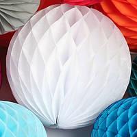 Бумажный шар-соты, белый, 30 см, фото 1