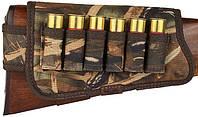 Патронташ на приклад тканевый на резинке на 6 патр. 12-16к. Камыш