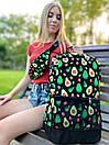 """Рюкзак унісекс чорного кольору з кольоровим принтом """"Авокадо"""", фото 6"""