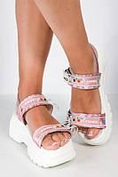 Босоножки женские 11P706 (Бело-розовый), фото 1