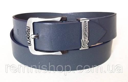 b873c909014e Мужской кожаный ремень Lacoste темно-синий