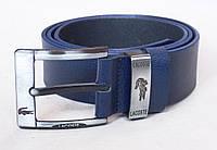 Мужской синий кожаный ремень Lacoste