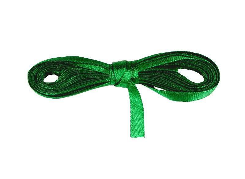 Лента атласная зеленая 0,6 см длина 5 м