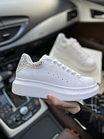 Женские кроссовки Alexander Mcqueen All White Кеды Александр Маккуин белые, кожаные премиум