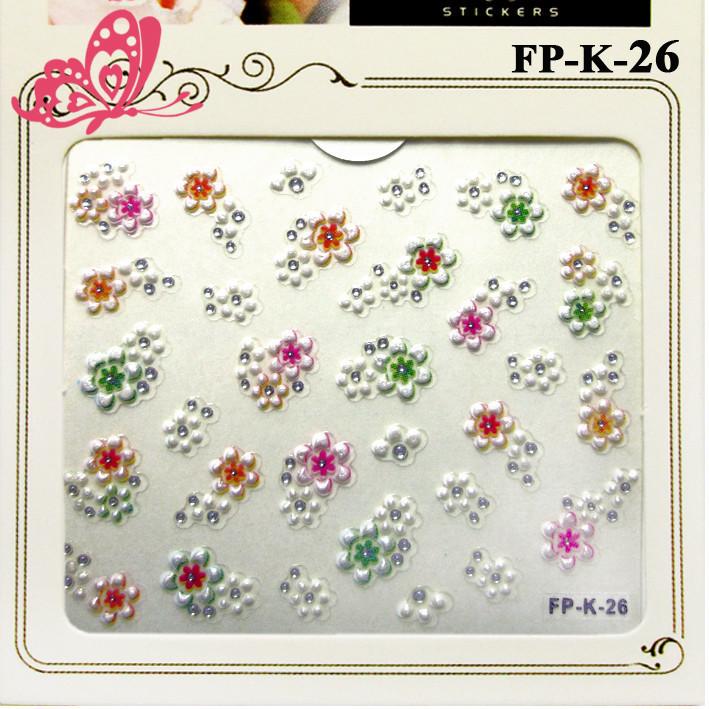 Самоклеющиеся Наклейки для Ногтей 3D FP-К-26 Цветочки Белые с Цветными Серединками с Камушками Слайдер