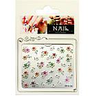 Самоклеющиеся Наклейки для Ногтей 3D FP-К-26 Цветочки Белые с Цветными Серединками с Камушками Слайдер, фото 3