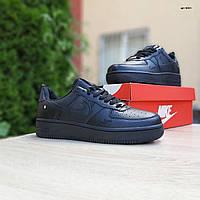 Мужские кроссовки в стиле Nike Air Force черные, фото 1