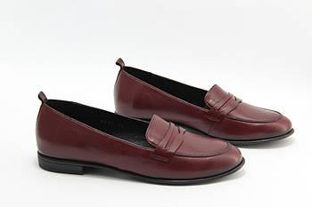 Жіночі туфлі лофери Burc 4037-Bordo