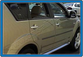Mitsubishi Outlander 2001-2006 гг. Накладки на ручки (4 шт, нерж) OmsaLine - Итальянская нержавейка