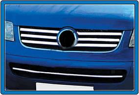 Накладки на решітку (6 шт, нерж) OmsaLine - Volkswagen T5 Caravelle 2004-2010 рр.