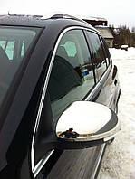 Накладки на дзеркала (2 шт., нерж) OmsaLine - Італійська нержавійка Volkswagen Tiguan 2007-2016 рр.