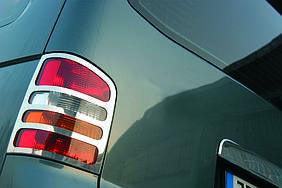 Накладки на ліхтарі задні (2 шт., нерж) 1 двері, OmsaLine - Volkswagen T5 Caravelle 2004-2010 рр.