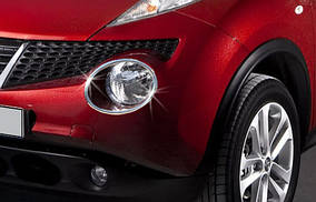 Nissan Juke 2010↗ рр. Накладки на передні ліхтарі (2 шт., нерж) 2010-2014, OmsaLine - Італійська нержавійка