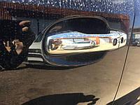 Toyota LC 200 Накладки на ручки 2008-2015 (4 шт, нерж) С дыркой под кнопку, Carmos - Турецкая сталь