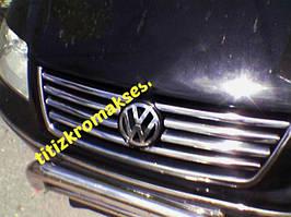 Накладки на решітку (нерж) 2000-2008 рік, 8 смужок Volkswagen Sharan 1995-2010 рр.