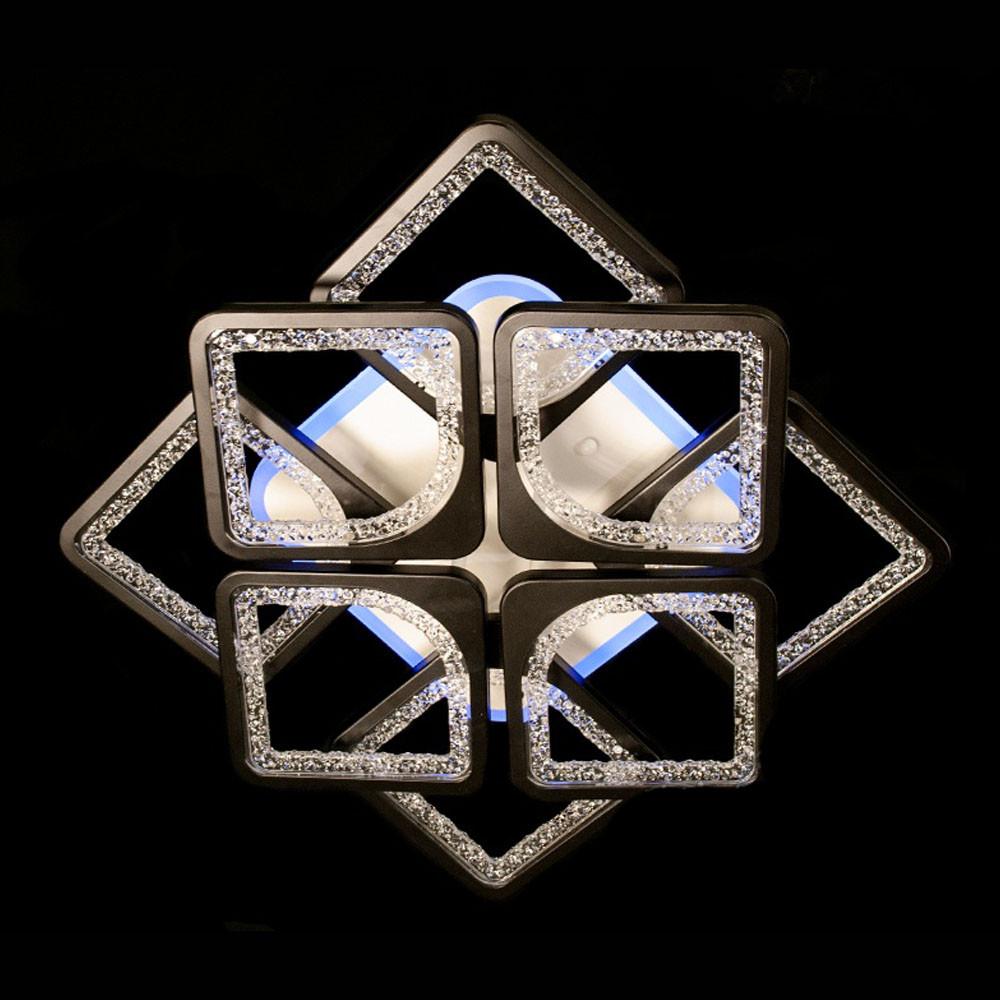 Потолочная LED-люстра квадраты с диммером цвет бело-черный 130W Diasha&MX2557/4+4S BK LED 3color dimmer