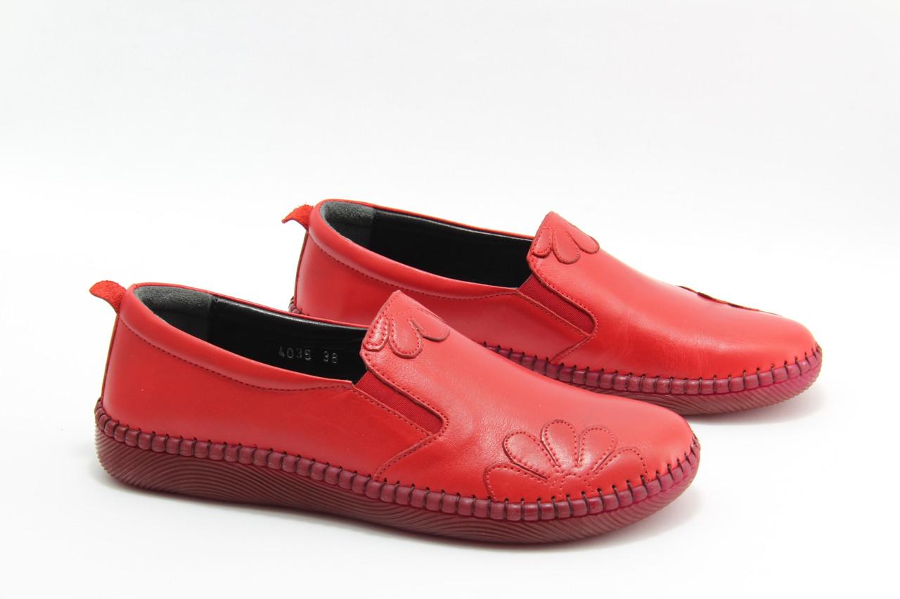 Красные кожаные  мокасины Burc 4035-kirmizi