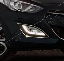 Hyundai I-30 2012-2017 рр. Накладки на противотуманки (2 шт., нерж.)