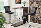 М'який стілець барний-хокер АМФ Версаль хром сидіння темно-сірий кожзам для кафе, фото 9