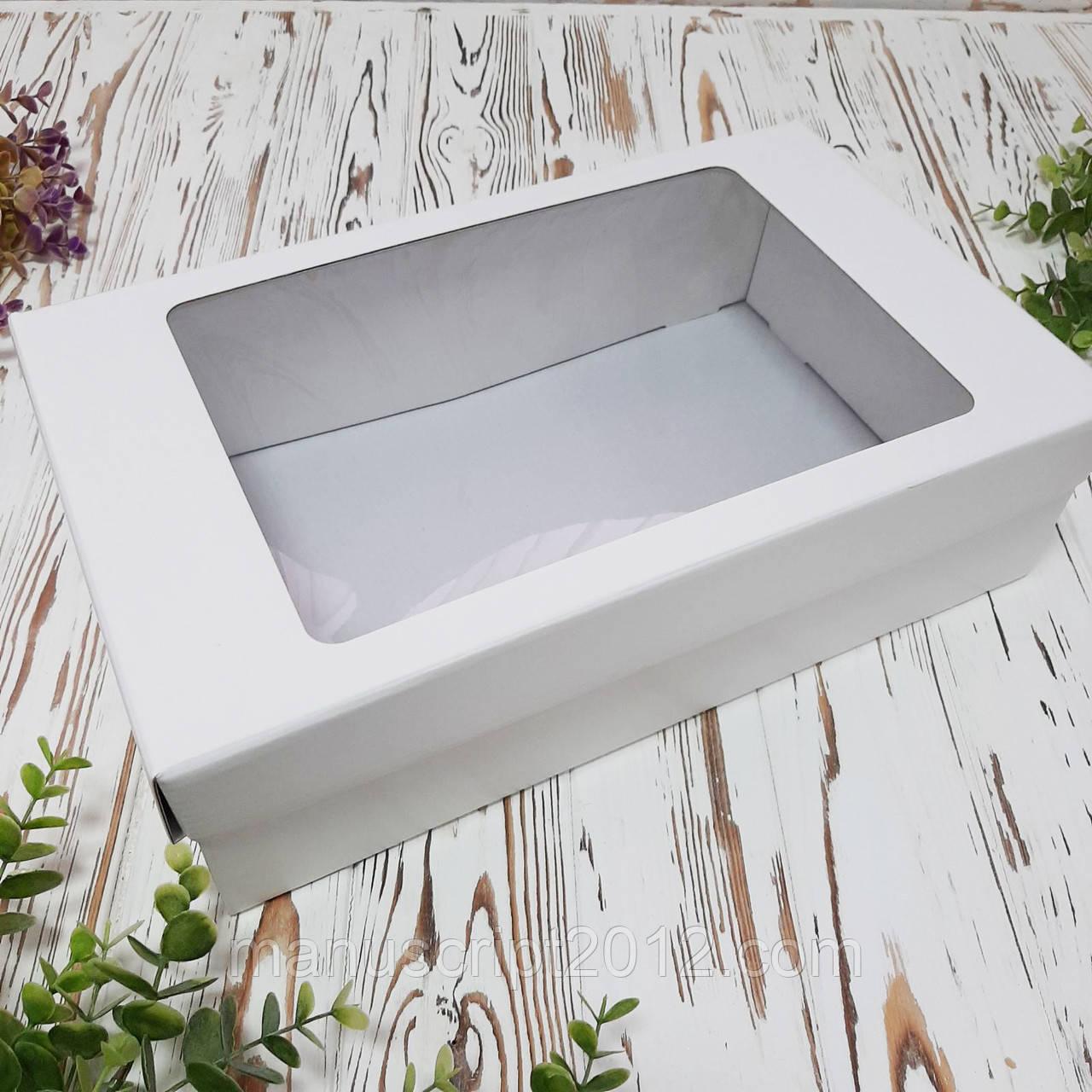 Подарункова коробка з кришкою та вікном велика 350х210х100 мм.