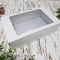 Подарункова коробка з кришкою та вікном велика 350х210х100 мм., фото 1