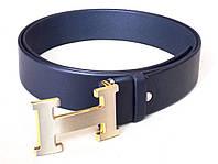 Синий кожаный ремень Hermes, фото 1