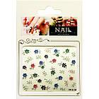 Самоклеющиеся Наклейки для Ногтей 3D FP-К-19 Разноцветные Цветы со Стразами Камушками Дизайн Ногтей, фото 3