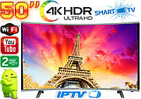 "Изогнутый телевизор Comer 50"" SmartTV 4K UHDTV,LED, IPTV, Android,T2,WIFI, Curved TV ГЕРМАНИЯ оригинал!"