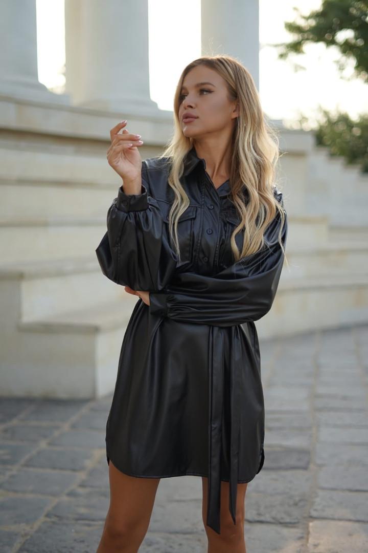 SM, LXL Женское платье-рубашка из эко кожи черное