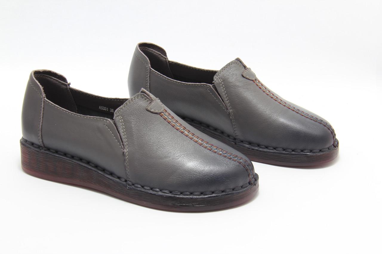 Женские кожаные туфли размеры 40-43 MeegoComfort A5323-5-grey(B)