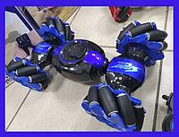 Машина-перевертыш на радиоуправлении Hyper Fire с роликовыми колесами 34 см Синяя+++ПОДАРОК