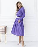 Сиреневое приталенное платье с длинными рукавами, фото 2