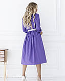 Сиреневое приталенное платье с длинными рукавами, фото 3