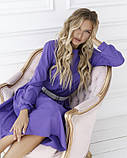 Сиреневое приталенное платье с длинными рукавами, фото 4