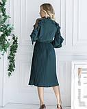 Зеленое плиссированное платье с сетчатыми вставками, фото 3