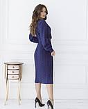Синее в красный горошек платье с декольте на запах, фото 3