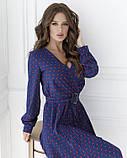 Синее в красный горошек платье с декольте на запах, фото 4