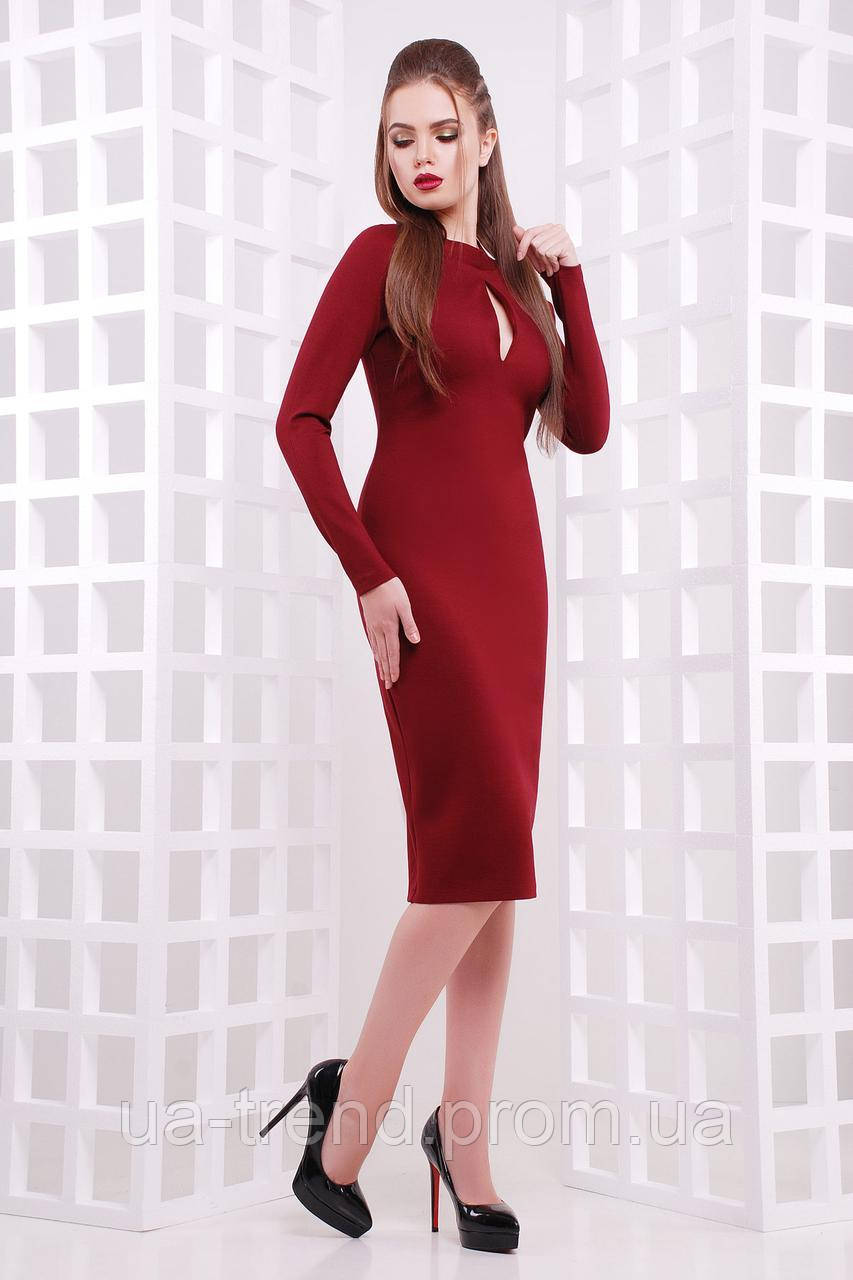 Бордовое платье ниже колен