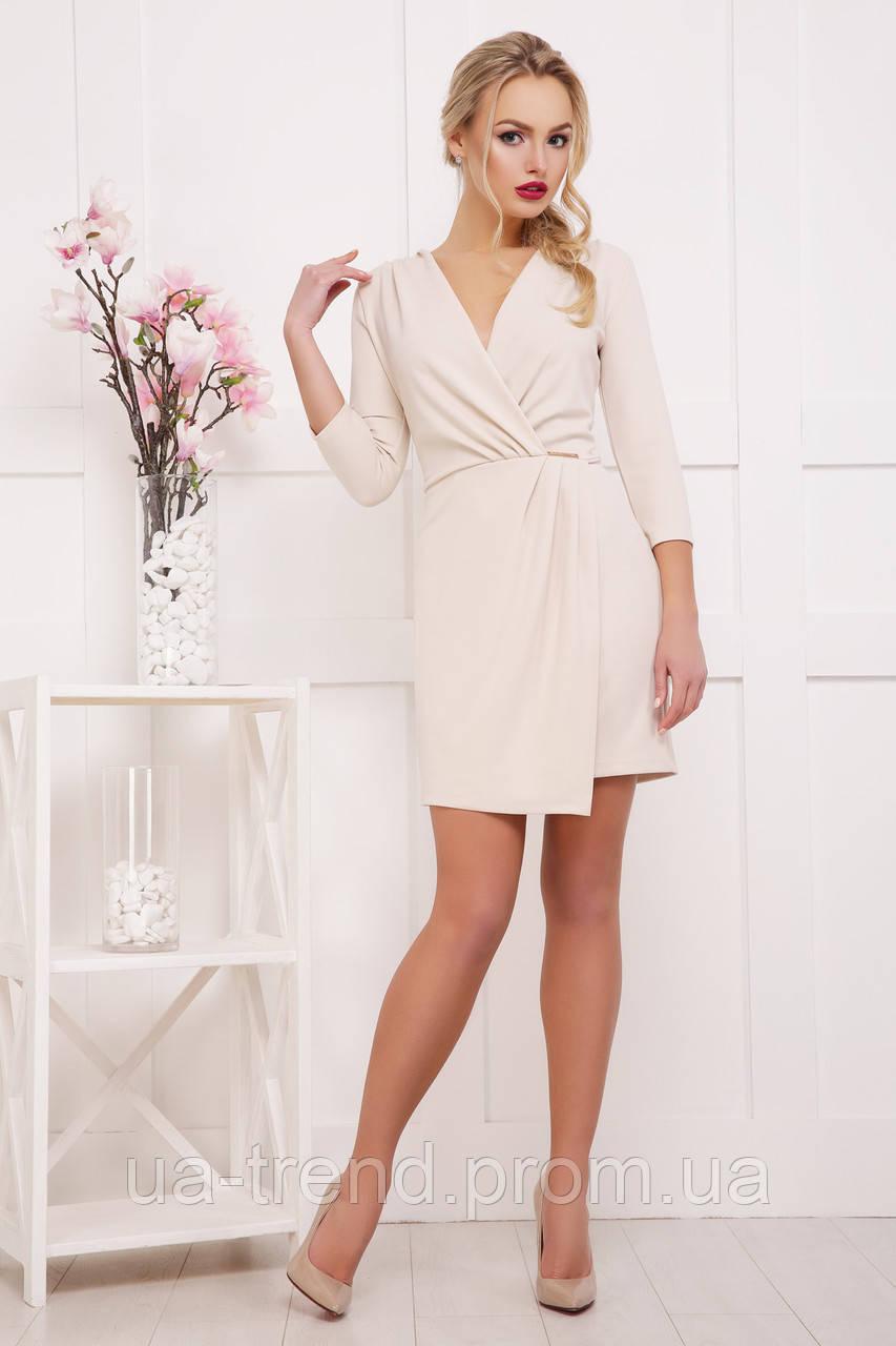 Женское бежевое платье-халат