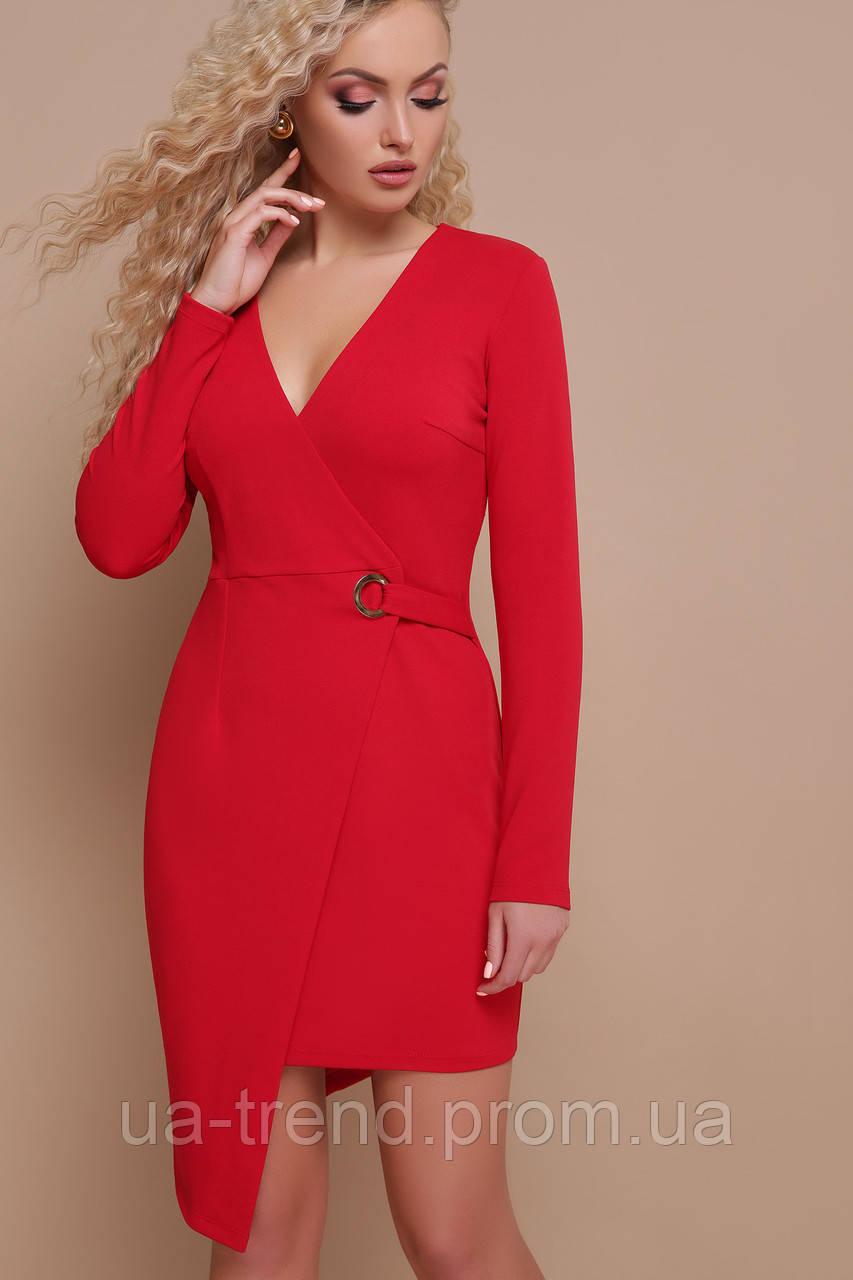Красное платье на запах длинный рукав