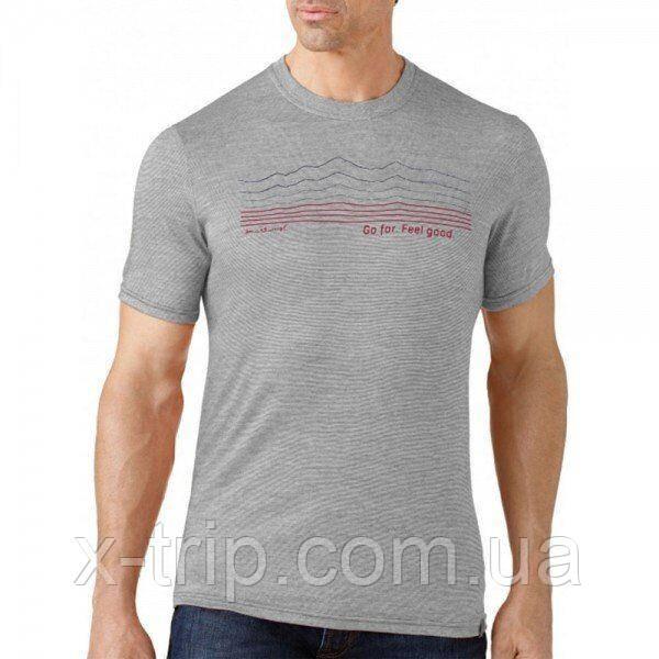 Футболка мужская Smartwool GT Slim Fit Striped Logo Light Gray, р.L (SW SF932.039-L)